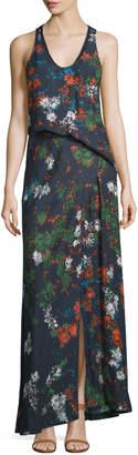 Cédric Charlier Sleeveless Floral-Print Silk Maxi Dress, Fantasia Blue