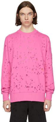 Diesel Pink S-Graham Distress Sweatshirt