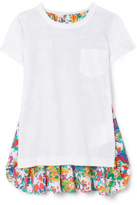 Sacai Paneled Cotton-jersey And Floral-print Crepe De Chine T-shirt - White