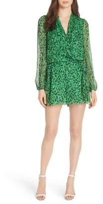 Diane von Furstenberg Leopard Print Crinkle Silk Chiffon Romper