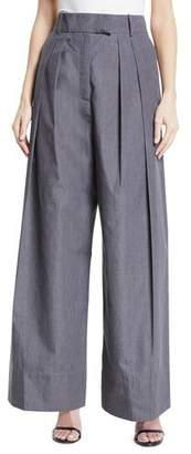 Awake Crispy High-Waist Wide-Leg Pleated Pants