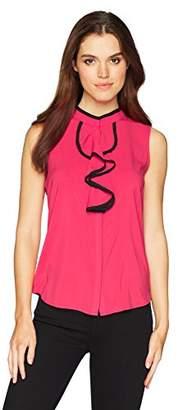 Calvin Klein Women's Sleeveless Piped Ruffle Front Top