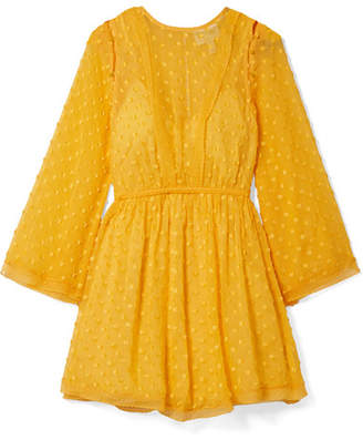 Alice McCall Gidget Lace-trimmed Fil Coupé Silk-blend Chiffon Mini Dress - Saffron
