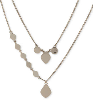 """DKNY Gold-Tone Sculptural Double-Row Pendant Necklace, 16"""" + 3"""" extender, Created for Macy's"""