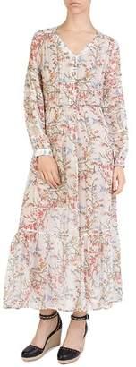 The Kooples Avian & Floral Print Silk Maxi Dress