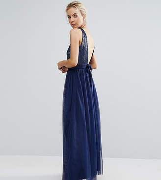Little Mistress Petite Allover Sequin Bow Back Tulle Prom Maxi Dress