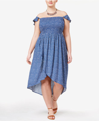 American Rag Trendy Plus Size Off-The-Shoulder Tulip Dress, Only at Macy's $69.50 thestylecure.com