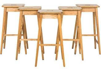 Set of 5 Oak Stools