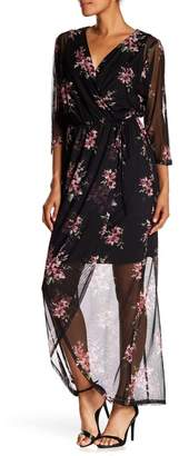 Connected Apparel Sheer Floral Print Mock Wrap Dress