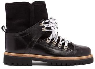 Ganni Edna Shearling Lined Leather Boots - Womens - Black