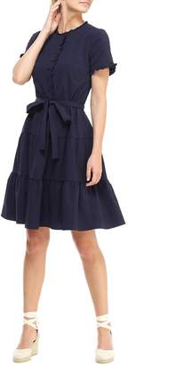 Gal Meets Glam Maisie Microcheck Tiered Dress