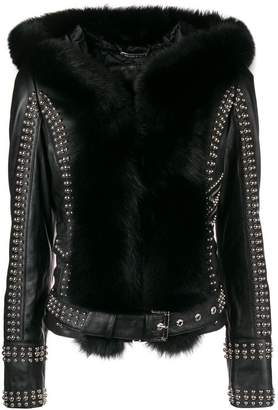 Philipp Plein fur-trimmed studded biker jacket