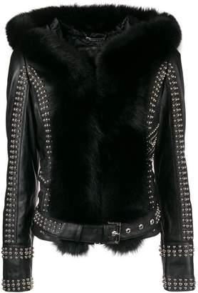 Philipp Plein fur-trimmed studded biker jacket