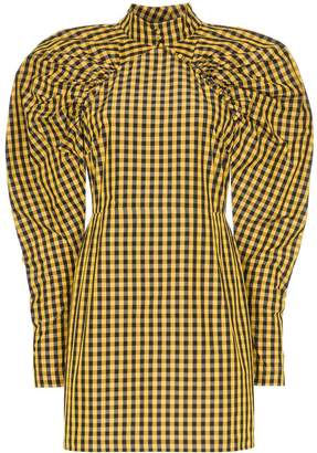 Rotate high neck gingham mini dress