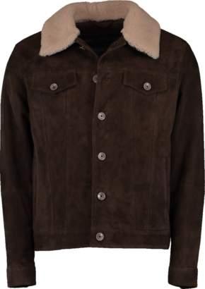 Eleventy Button Down Suede Jacket