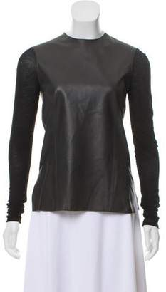 Helmut Lang Long Sleeve Leather Top