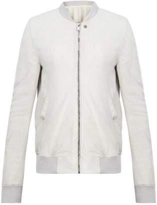 Rick Owens Zip-through cracked-leather bomber jacket