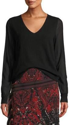 Fuzzi V-Neck Sheer-Sleeve Sweater