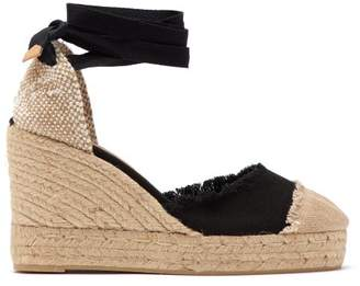 Castaner Catalina 80 Canvas & Jute Espadrille Wedges - Womens - Black