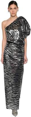 Giuseppe Di Morabito ZEBRA SEQUINED ONE SHOULDER LONG DRESS