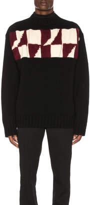 Calvin Klein Chest Graphic Sweater in Black & Burgundy & Ecru | FWRD