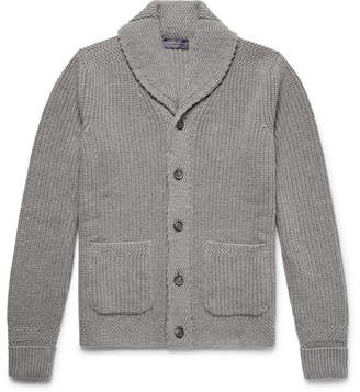 Ralph Lauren Purple Label Shawl-Collar Ribbed Cashmere Cardigan