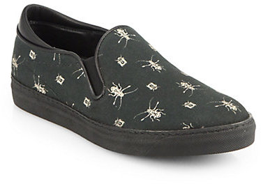 McQ by Alexander McQueen Insect-Print Canvas & Leather Slip-On Sneakers