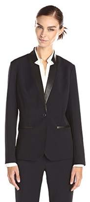 Lark & Ro Women's Single-Button Blazer Faux-Leather Trim