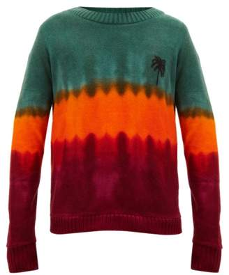 The Elder Statesman Tie Dyed Palm Tree Motif Cashmere Sweater - Mens - Green Red