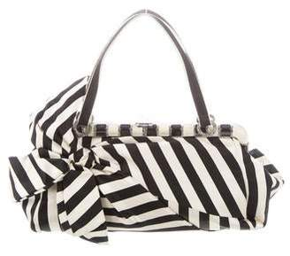 Valentino Striped Satin Bow Evening Bag