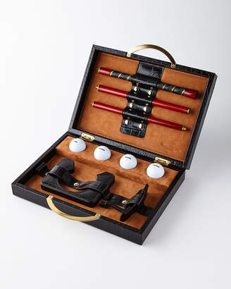 Renzo Romagnoli Travel Golf Set with Croc-Embossed Carry Case