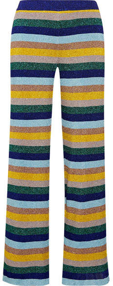 Missoni - Metallic Striped Knitted Wide-leg Pants - Blue