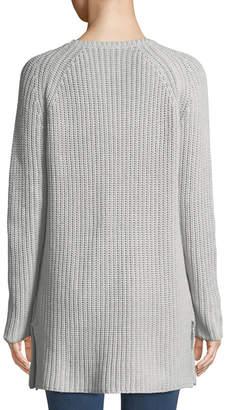 Lilla P Ribbed Pocket-Hem Tunic Sweater