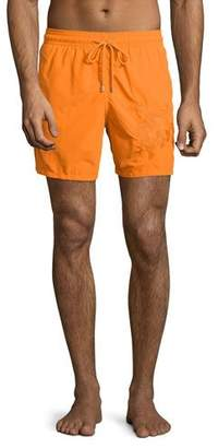 Vilebrequin Mistral Swim Trunks W/3D Turtle, Orange $500 thestylecure.com