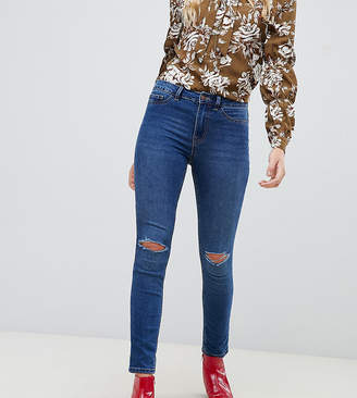 New Look Tall ripped knee Skinny Jeans in blue