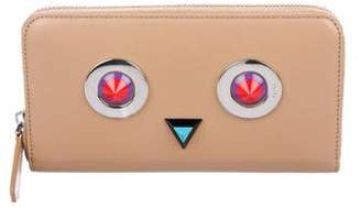 Fendi Monster Leather Zip Wallet