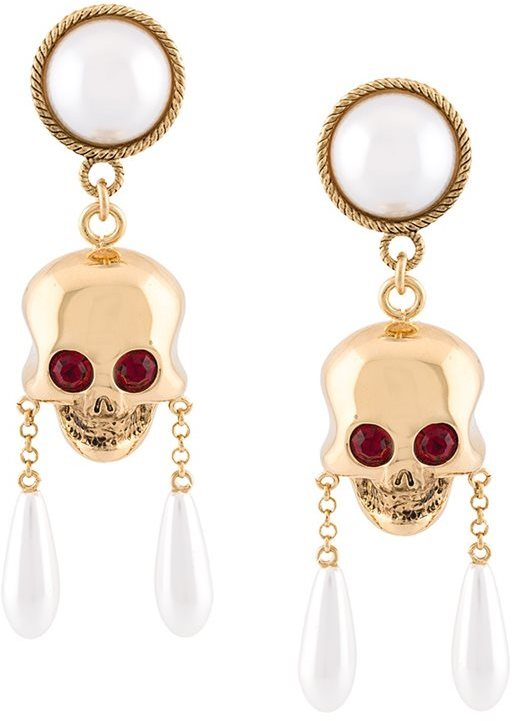 Moschino Moschino skull and pearl clip-on earrings