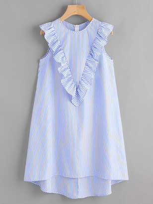Shein Zip Back Ruffle Yoke Striped Dress