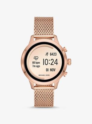 Michael Kors Runway Rose Gold-Tone Mesh Smartwatch Strap