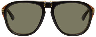 Gucci Black and Tortoiseshell Flip-Up Pilot Sunglasses
