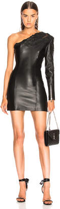 Balmain Leather One Shoulder Mini Dress