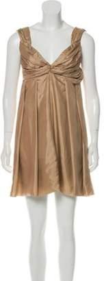 Miu Miu Pleated Mini Dress Beige Pleated Mini Dress