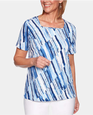 Alfred Dunner Petite Classic Printed Square-Neck Top