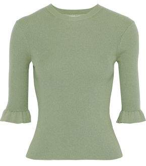 RED Valentino Cropped Ribbed Cashmere And Silk-blend Sweater
