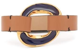 Marni - Leather And Enamel Bracelet - Womens - Navy