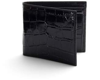 Aspinal of London Billfold Coin Wallet In Deep Shine Black Croc Cobalt Suede