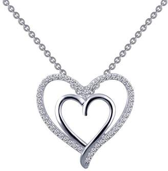 Lafonn Classic Sterling Silver Platinum Plated Lassire Simulated Diamond Necklace (0.49 CTTW)