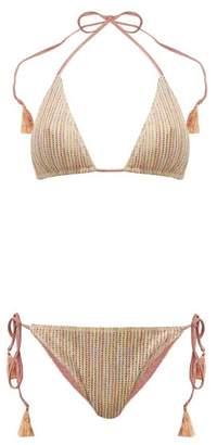 Missoni Mare - Desert Striped Lame Knit Bikini - Womens - Nude