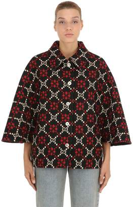 Gucci Gg Supreme Wool Knit Cape