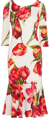 Dolce & Gabbana - Fluted Floral-print Stretch-silk Midi Dress - Red $2,745 thestylecure.com